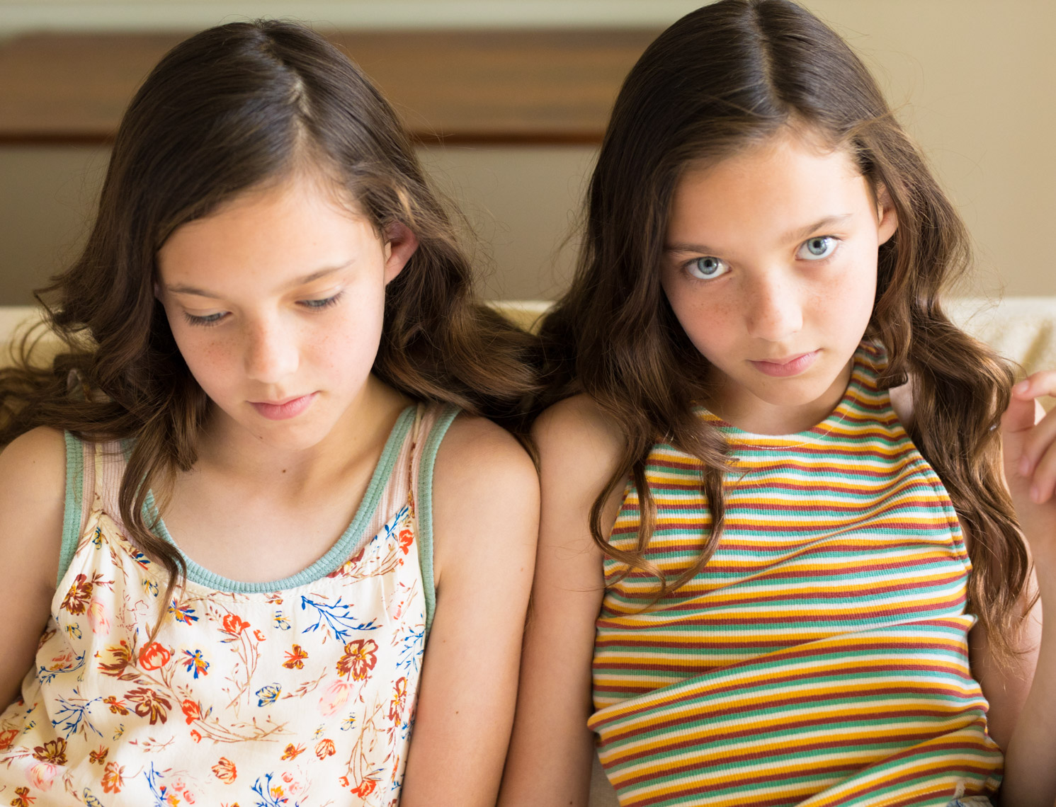 Tween sisters in floral stripes | Editorial Portrait Photographer