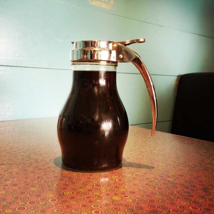 Maple syrup on diner table | Austin Lifestyle Photographer