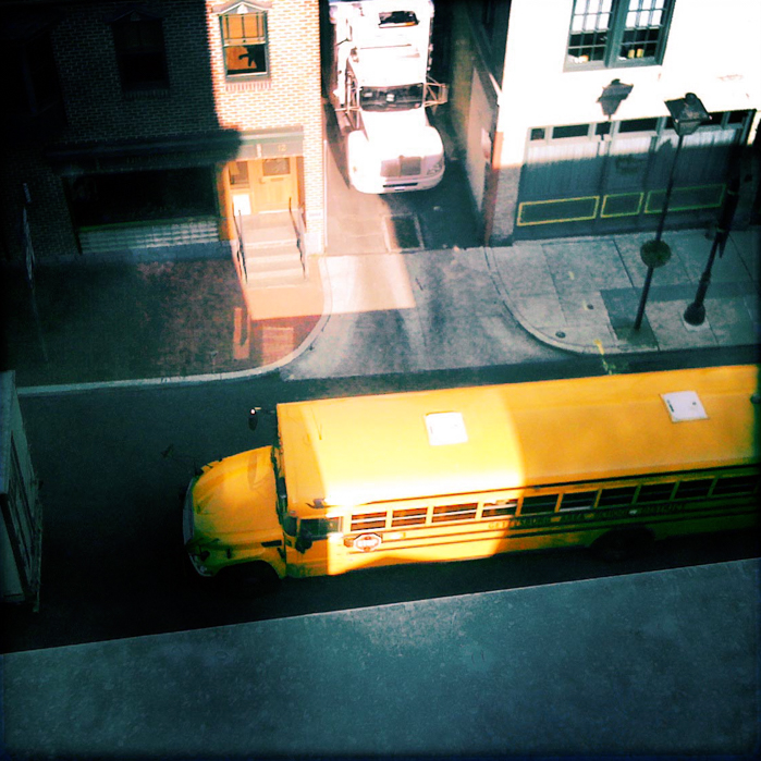 School bus from window | Visual Storytelling Photographer
