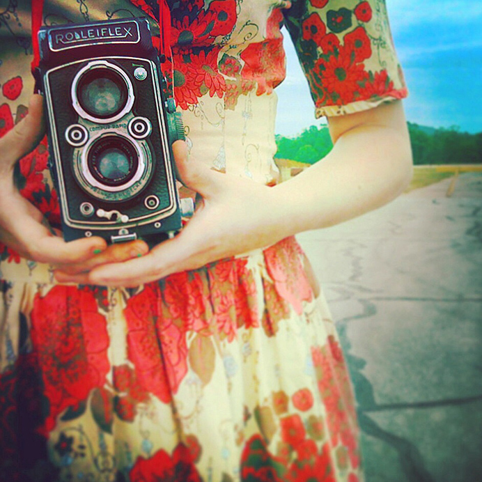 Girl with vintage camera | Austin Lifestyle Photographer