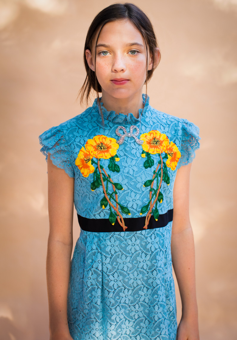Blue Gucci dress yellow flowers | Editorial Fashion Photographer